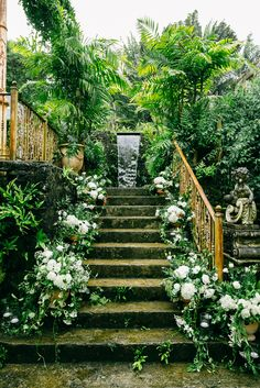 White flowers and lush greenery lining the stairway by Teresa Sena Design for a luxurious Haiku Mill wedding by Brooke Keegan Events - Callaway Gable Hawaii Elopement, Hawaii Wedding, California Wedding, Destination Wedding Locations, Wedding Venues, Wedding Ideas, 1920s Wedding, Church Wedding, Wedding Pictures