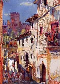 George Owen Wynne Apperley - Calles de Gumiel ,Granada Watercolor City, Watercolor Landscape, Watercolor Paintings, Art Watch, English Artists, Renoir, Urban Landscape, Art Techniques, Creative Art