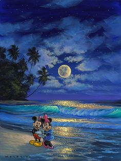 Romance Under the Moonlight by Hawaii Artist Walfrido featuring the famous Disney couple, Mickey and Minnie Mouse, sharing a romantic stroll on the beach watching the waves roll in. Disney Fine Art, Disney Treasures, Disney Background, Pinturas Disney, Disney Images, Mickey And Friends, Mickey Minnie Mouse, Disney Wallpaper, Mickey Mouse Wallpaper Iphone