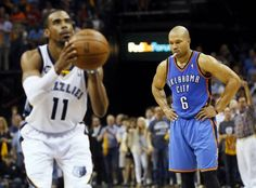 Oklahoma City's Derek Fisher (6) looks down as Memphis' Mike Conley (11) takes a foul shot in the final minute of Game 3 in the second round of the NBA basketball playoffs between the Oklahoma City Thunder and Memphis Grizzles at the FedExForum in Memphis, Tenn.,  Saturday, May 11, 2013. Memphis won, 87-81. Photo by Nate Billings, The Oklahoman