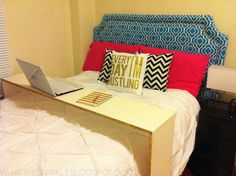 I love this idea for a young person - perhaps a college student...a desk on wheels that rolls up over the bed to do your work!