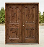 Double Front Doors for Homes | Arched Mahogany Exterior Double ...