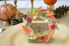Little Birdie Secrets: fall wreath thanksgiving placecard and napkin ring {tutorial} Thanksgiving Name Cards, Thanksgiving Wreaths, Thanksgiving Decorations, Thanksgiving Ideas, Table Decorations, Seasonal Decor, Fall Decor, Fall Crafts, Holiday Crafts