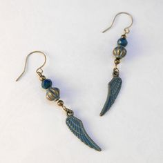 """These dangly earrings measure approximately 2⅝"""" long and have a chic style with a vintage feel. They'll add a fun flair to your jeans and a tee, khakis and a polo, or casual dress. Help your heart soar with these wings!  #classy #expressyourself #unique #bohostyle #wings"""