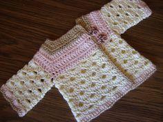 free crochet baby pattern, sweater, cardigan, newborn, colorful mini