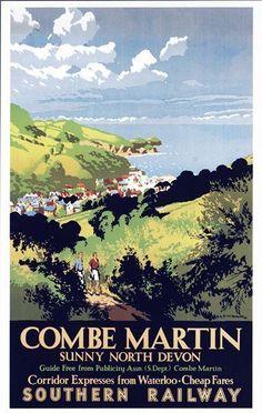 Vintage Southern Railway Combe Martin Devon Railway Poster .17