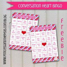 Valentine's Day FREE Printables! | Conversation Heart Bingo  #valentinesday #freeprintables #valentinesdayprintables #valentinesdayparty