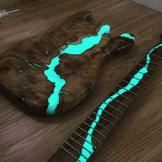 ON SALE Live edge river coffee table with glowing resin fillin - Salvabrani Guitar Pics, Guitar Art, Music Guitar, Cool Guitar, Guitar Body, Ukulele, Custom Electric Guitars, Custom Guitars, Guitar Inlay