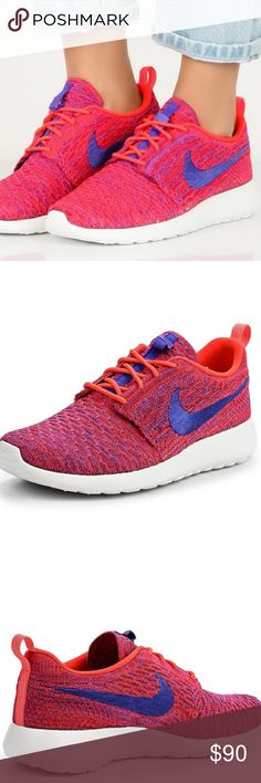 New Nike Roshe One Flyknit! Comes from a smoke free home! Brand new with tags! Beautiful print on the shoe! Brand new in box! Box comes without a lid for the size 7! Nike Shoes Athletic Shoes