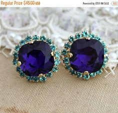 ❘❘❙❙❚❚ 2016 Bridal Weekend SALE ❚❚❙❙❘❘     Blue and Purple Rhinestone Stud earrings -14kk plated gold post earrings real swarovski rhinestones. Petite