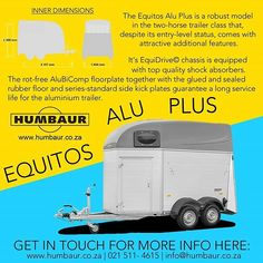 Stylish mid-ranged alu-poly class 2 berth horsebox that will not only turn heads but keep you and your horses safe with the amazing EquiDrive system.  Contact us now for more info and how to order these stunning aluminium horseboxes.  info@humbaur.co.za or 021 511 4615  __________________________________________ #humbaur #humbaursa #horseboxes #equestrian #equine #eventingsa #dressagesa #showjumping #eventing #dressage #instahorse #horses #horsetransport Horse Transport, Rubber Flooring, Show Jumping, Entry Level, Dressage, Equestrian, Horses, Stylish, Amazing