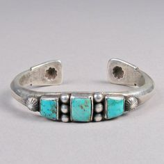 Three stone cuff bracelet, turquoise and sterling silver and turquoise by Jock Favour