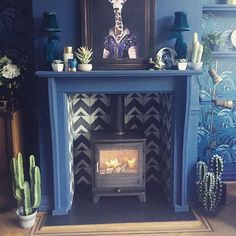 Newly fitted fire in our 1901 Arts & Crafts house. Custom made fireplace and bert & may tiles. 1930s Fireplace, Log Burner Fireplace, Wood Fireplace Surrounds, Tiled Fireplace, Paint Fireplace, Wood Burner, My Living Room, Home And Living, Living Room Decor