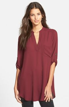 $42 - Lush+'Perfect'+Roll+Tab+Sleeve+Tunic+available+at+#Nordstrom - comes in 4 perfect colors: black, white, hunter, maroon