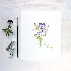 A collection of allsix printsfrom my edible flowers watercolor series printed on gorgeouspaper.You will receive six prints: chives, nasturtium, violet, borage, viola + pansy, and crabapple. This lovely collection of botanical images wouldbe wonderful in a kitchen or eating area. A perfectgift for gardeners, food l