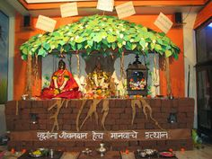 Ganpati Decoration Ideas At Home Ganesh Pooja Decoration Decoration Ganesh And Diwali