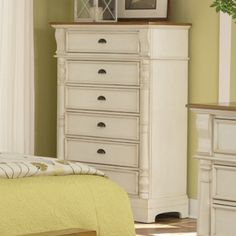 Oleta Chest in Buttermilk/Brown Finish - modern - Dressers Chests And Bedroom Armoires - Modern Furniture Warehouse