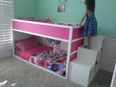 Ikea Hack Girls Room Kura Bunk Bed And Trofast Storage - like the storage steps; would want a rail or to close it off with storage on other end and facing into underneath space