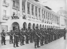 "Portuguese Infantry ""Caçadores""on parade in Luanda, Angola 1961 - Colonial War Colonial, Lisbon Portugal, Guinea Bissau, Portuguese, Troops, Africa, Street View, Military, War"