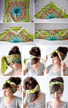 How to tie a retro head scarf.