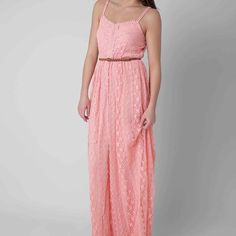 Coral Lace Maxi Dress Coral lace maxi dress with criss cross back. Never worn new with tags. Buckle Dresses Maxi
