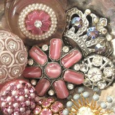 Vintage pink, sparkly buttons.  Photo by fancylinda, via Flickr.