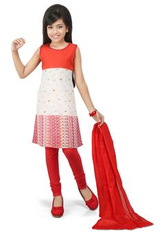 PRINTED COTTON STRAIGHT CUT SUIT IN RED AND OFF WHITE