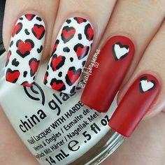 leopard heart nail art, Instagram photo taken by A Nailie Named Jema ♡♡ - INK361