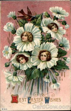 Flower Face Vintage Greeting Card