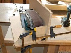 Belt Sander Platform by John Heisz This turns a portable belt sander into a stationary bench top tool. Two pages of plans and photos how to do it, and an accompanying Youtube video to show how it works. Simple design and impressive performance.