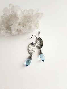 Kate Peterson Designs Blue Topaz Gemstone Fancy Cut Oval Disc Sterling Handmade Earrings Jewelry on Etsy
