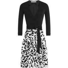 Diane von Furstenberg Wool-Silk Wrap Dress ($345) ❤ liked on Polyvore featuring dresses, multicolor, white and black dress, multi colored dress, diane von furstenberg, slimming dresses and black and white dress