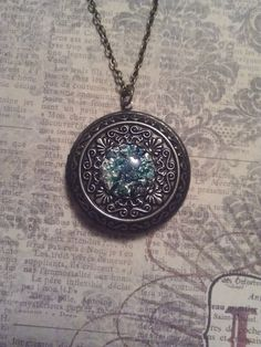 Vintage Green and Iridescent Blue Opal Glass on Antiqued Bronze Filigree Locket Pendant on Necklace