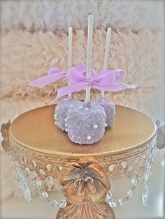Beautiful......Edible Wedding Favors Silver and purple Chocolate Dipped marshmallows Frost The Cake