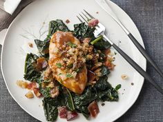 "QUICK CHICKEN ""Maple-Glazed Chicken Breasts with Mustard Jus"" *a* Chef Way At Emeril's in New Orleans, chef David Slater glazes chicken breasts with maple syrup, sherry vinegar and orange juice infused with anise and. Best Chicken Dishes, Easy Chicken Recipes, Wine Recipes, Cooking Recipes, Healthy Recipes, Yummy Recipes, Yummy Food, Maple Glazed Chicken, Deserts"