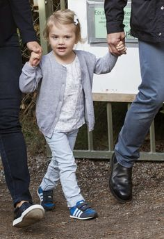 Crown Princess Victoria and Prince Daniel of Sweden bring their daughter Princess Estelle to her first day of pre-school Aug. 25, 2014