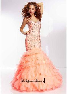Alluring Organza Sweetheart Neckline Floor-length Mermaid Prom Dress