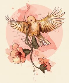 Bird & flowers on Behance