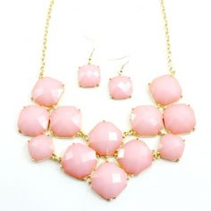Bubble Gum Square Statement Necklace Set in Gold