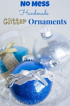 Make these easy and inexpensive no mess Handmade Glitter Ornaments with glass ornaments, Michaels Recollections glitter and Mop & Glo. This DIY craft from Marty's Musings makes a great gift for teachers, friends and neighbors. Noel Christmas, Diy Christmas Ornaments, Homemade Christmas, All Things Christmas, Winter Christmas, Christmas Decorations, Handmade Ornaments, Holiday Decorating, Decorating Ideas
