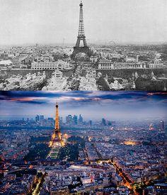 Skylines Of The World: Then Vs Now: Eiffel Tower, Paris. Paris France, Paris 1900, Old Paris, Tour Eiffel, Vacation Trips, Vacation Spots, Then And Now Pictures, Machu Picchu, Then Vs Now