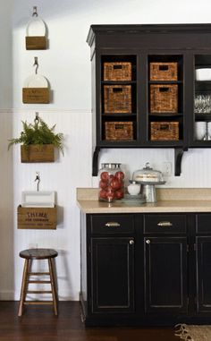 White beadboard, antiqued black cabinets, baskets, drawer pulls traditional kitchen by The Lettered Cottage Black Kitchen Cabinets, Painting Kitchen Cabinets, Black Kitchens, Kitchen Paint, Kitchen Redo, Kitchen Remodel, Open Cabinets, Kitchen Storage, White Cabinets