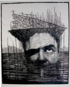 linocut by Dimitris Karlaftopoulos