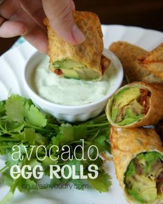 Avocado Egg Rolls with Creamy Cilantro Ranch Dip.these looks like the Avocado Egg Rolls from the Cheesecake Factory Think Food, I Love Food, Vegetarian Recipes, Cooking Recipes, Healthy Recipes, Avocado Recipes, Dip Recipes, Cooking Tips, Copycat Recipes