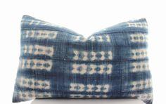 African Mudcloth Pillow Cover, Indigo, Mud Cloth, Vintage, Ethnic, Textile, Handwoven, Lumbar, 15x23