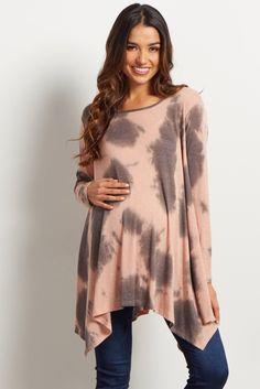 Pink Charcoal Tie Dye Long Sleeve Flowy Top