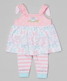 Another great find on #zulily! Pink Bow Owl Tie-Strap Tank & Leggings by Happi by Dena #zulilyfinds