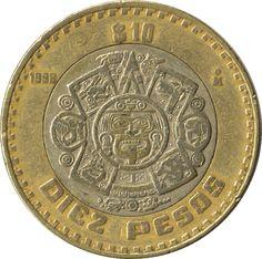 """Moneda mexicana de 10 pesos con el símbolo del 5to sol en el centro. Es Nahui-Ollin, el quinto sol (del nahuatl, cuatro movimiento, """"sol de movimiento""""), periodo que esta destinado a desaparecer por la fuerza de un movimiento o temblor de tierra dentro de la Cosmogonía mexica/azteca."""