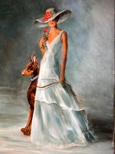 Doberman Pinscher red with lady original oil painting on canvas by Roberta C