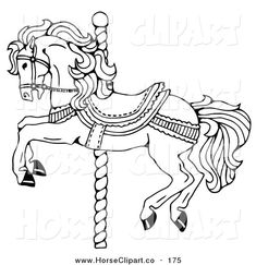 Royalty Free Clip Art Of A Carousel Horse On Spiraling Pole White Background This Stock Image Was Designed And Digitally Rendered By C